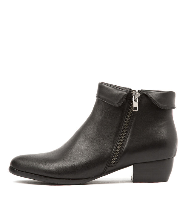 TWINZIP Boots Black Leather