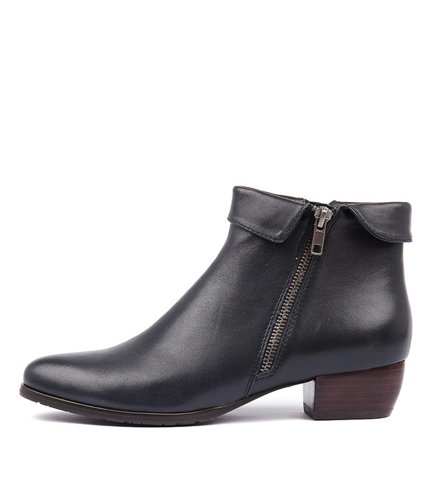 TWINZIP Boots Navy Leather