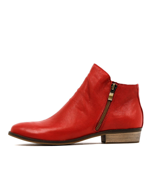 SPLIT Ankle Boots in Red Leather