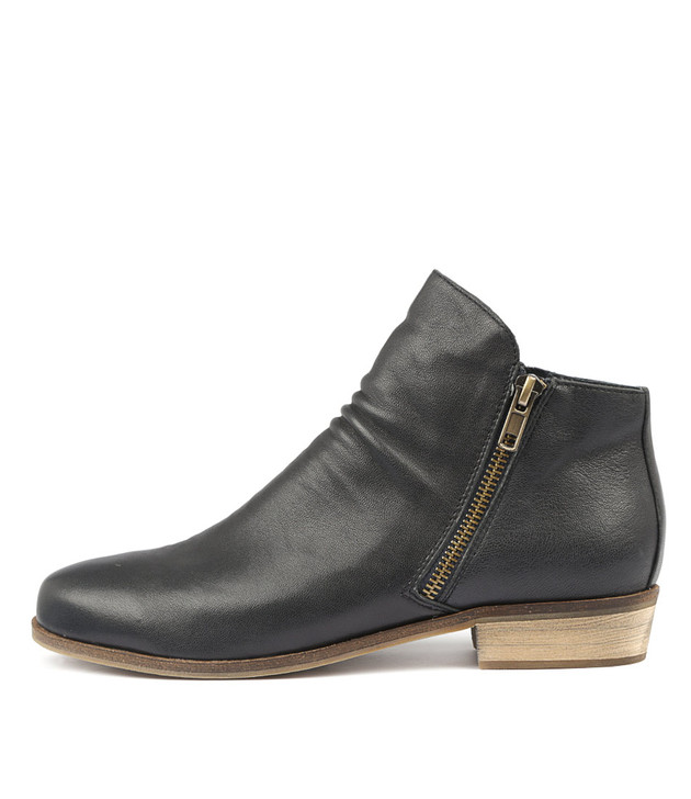 SPLIT Ankle Boots in Navy Leather