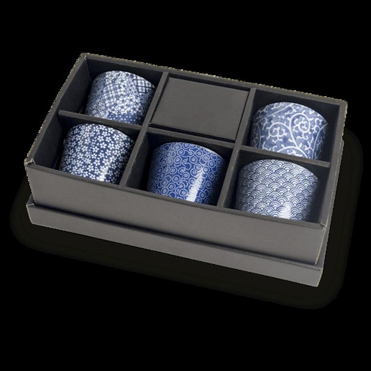 TEA CUP SET BLUE PATTERN ASSORTED 7.8X7CM 6040962
