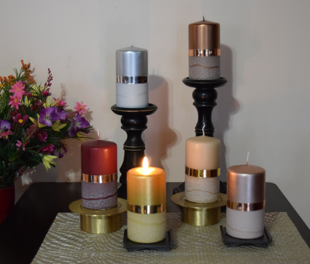 Elegant unscented Pillar candles in assorted colors