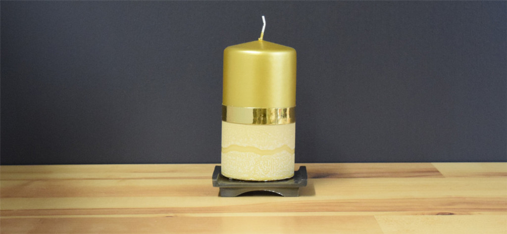 Unscented Gold pillar candle