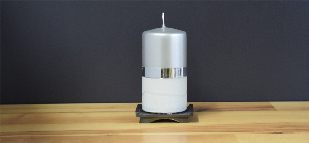 Unscented Silver pillar candle
