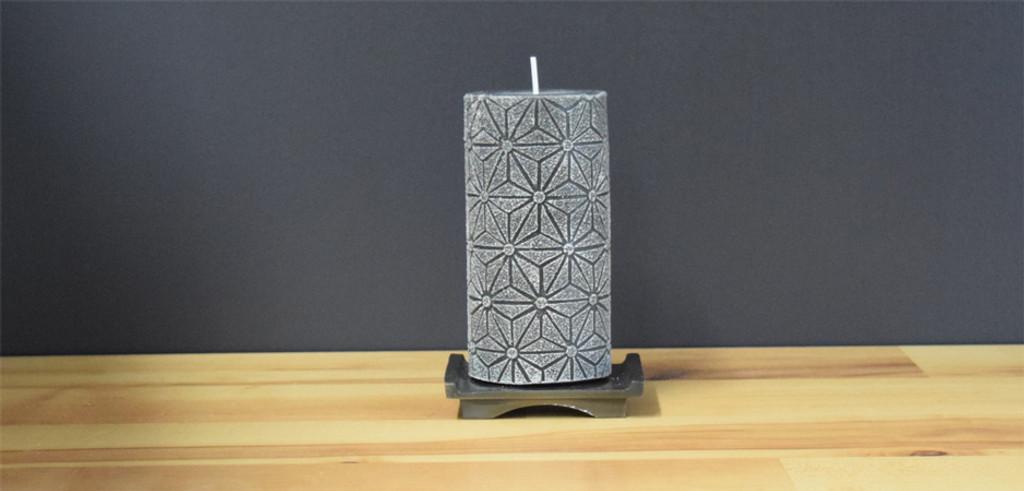 Unscented Grey Pillar Candle