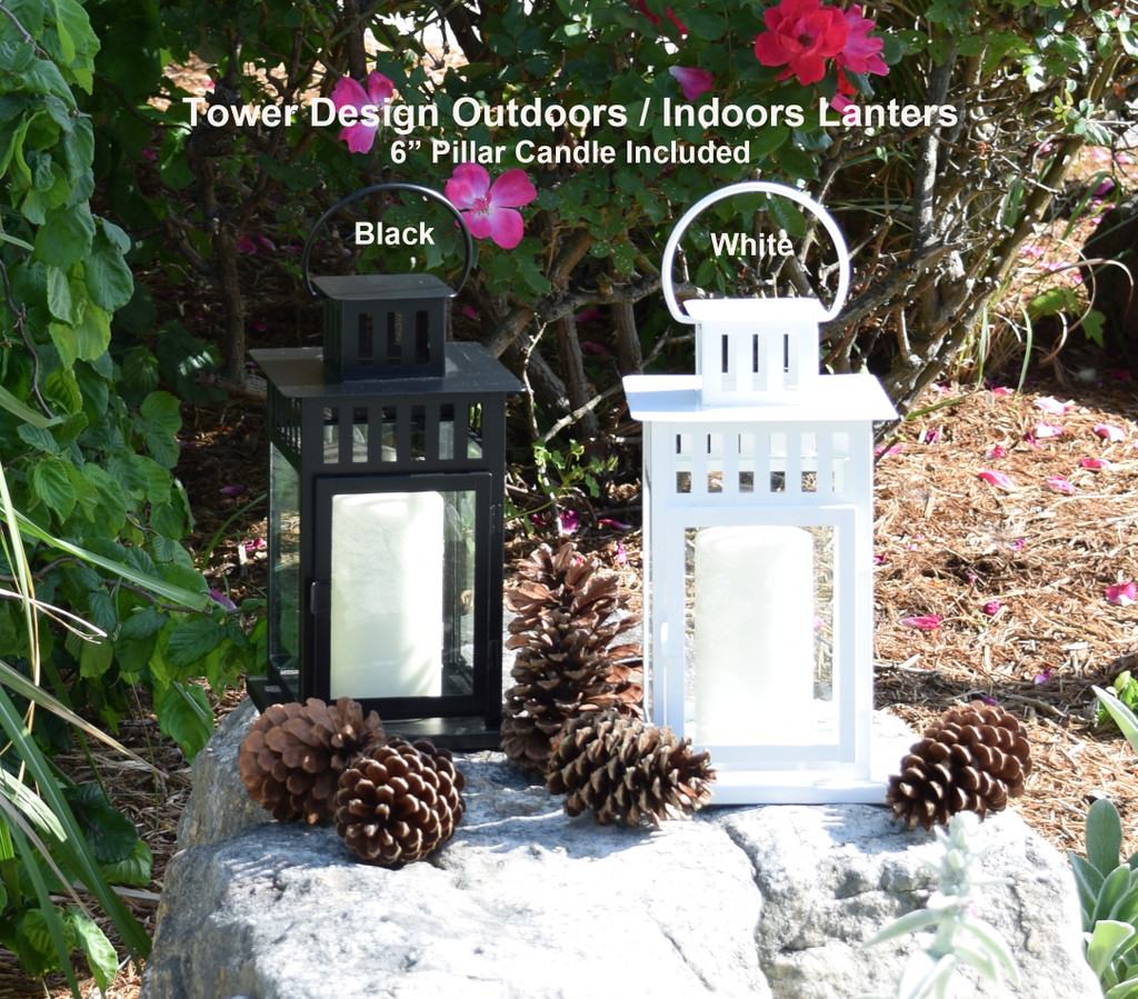 "Tower Design Outdoors / Indoors Lantern - 6"" Pillar candle included $19.50"