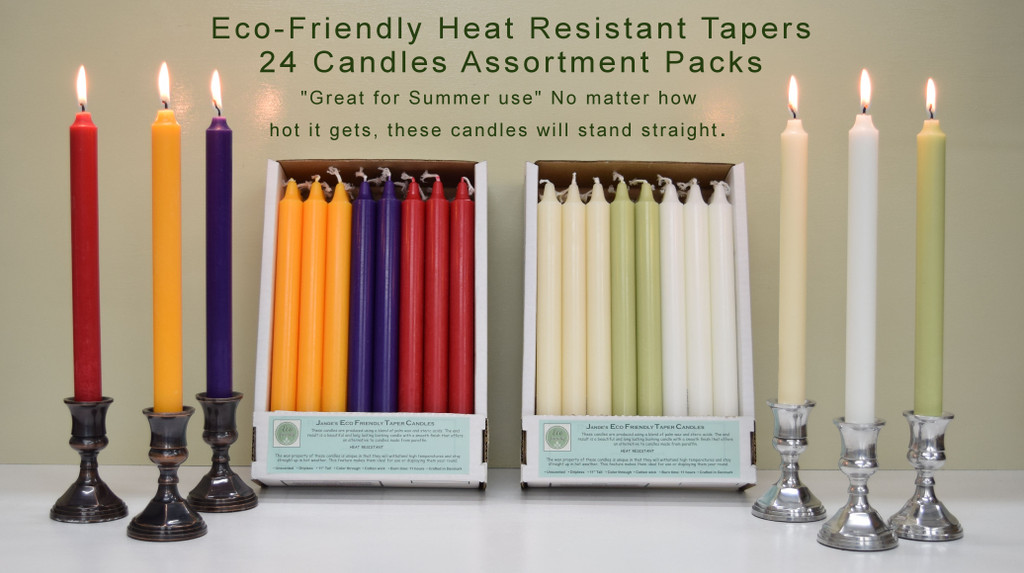 "11"" Eco-Friendly Stearin Tapers - 24 Candles Assortment Pack - Free Shipping"