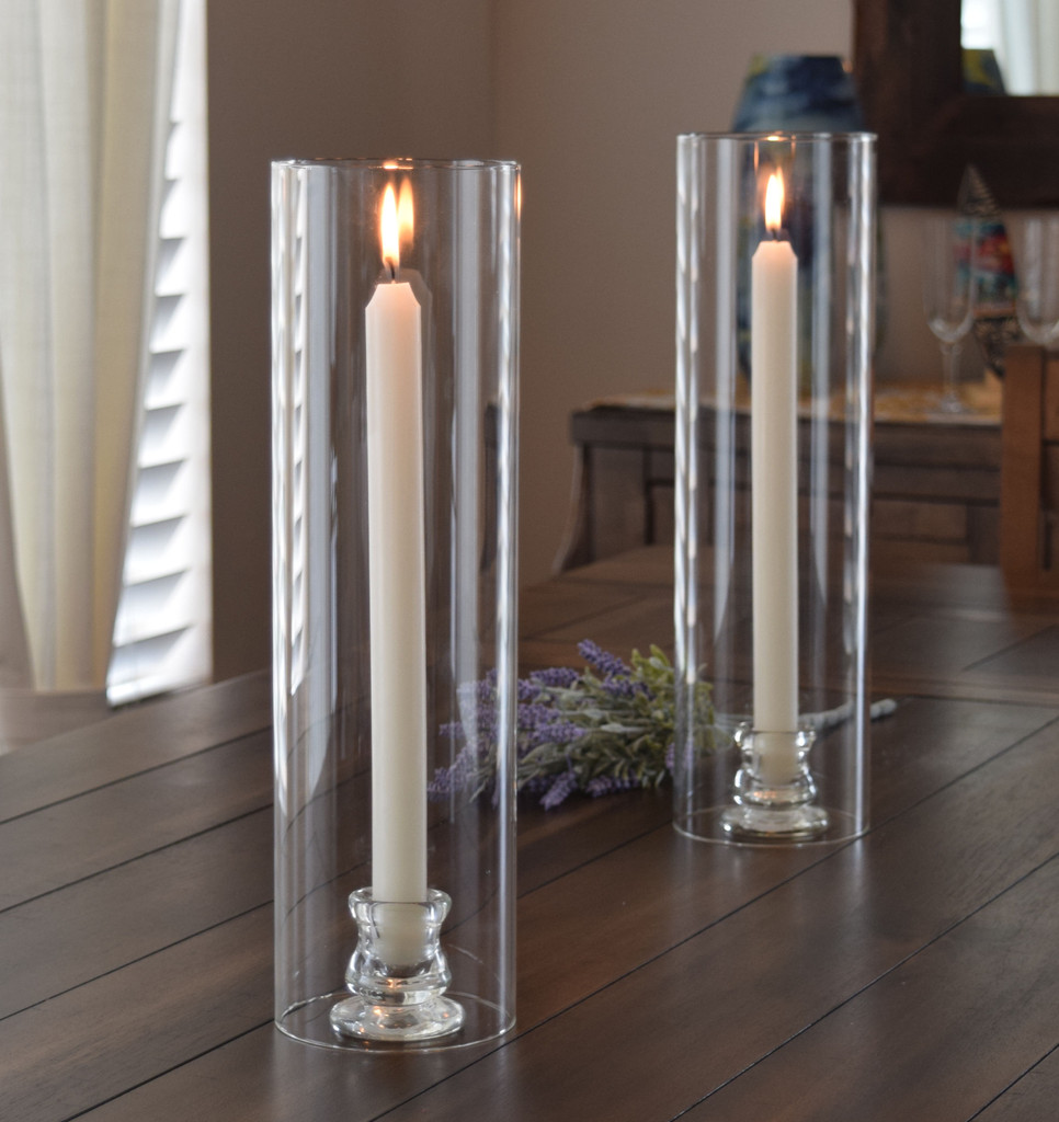 """Open Ended 14"""" x 4"""" Glass Hurricane Lamp for Tapers and Pillars. Set of 2 with 2 free tapers"""