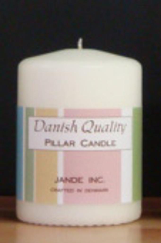 "2.75"" x 4"" Short White Danish Pillar Candle."