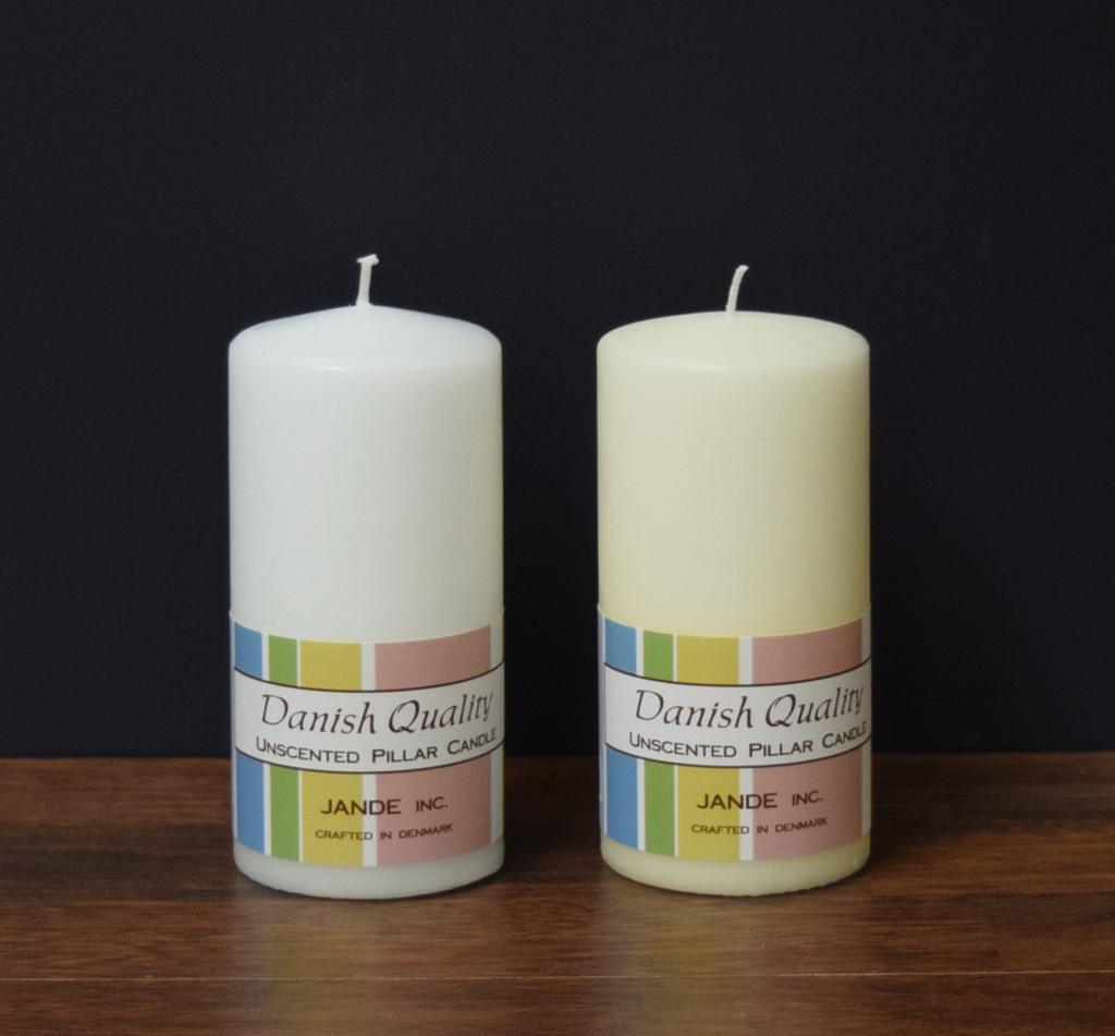 """2.75"""" x 6"""" White and Ivory Danish Pillar Candles"""