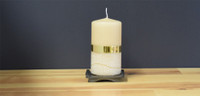 Dripless yellow  pillar candle