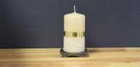 Dripless yellow  pillar candle