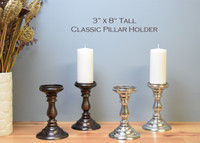 "Classic Pillar Bases / 3"" x 8"" tall (Case: 2 bases & 2 free pillars included)"