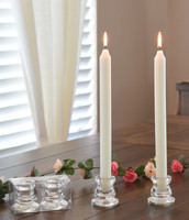 Glass Taper Holders with free Danish Taper Candles (Price per pair)