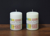 "2.75"" x 6"" White and Ivory Danish Pillar Candles."