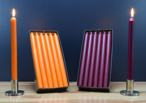 "Set of 12 Kiri 12"" Dinner Candle Tapers. Orange taper candles and plum taper candles."