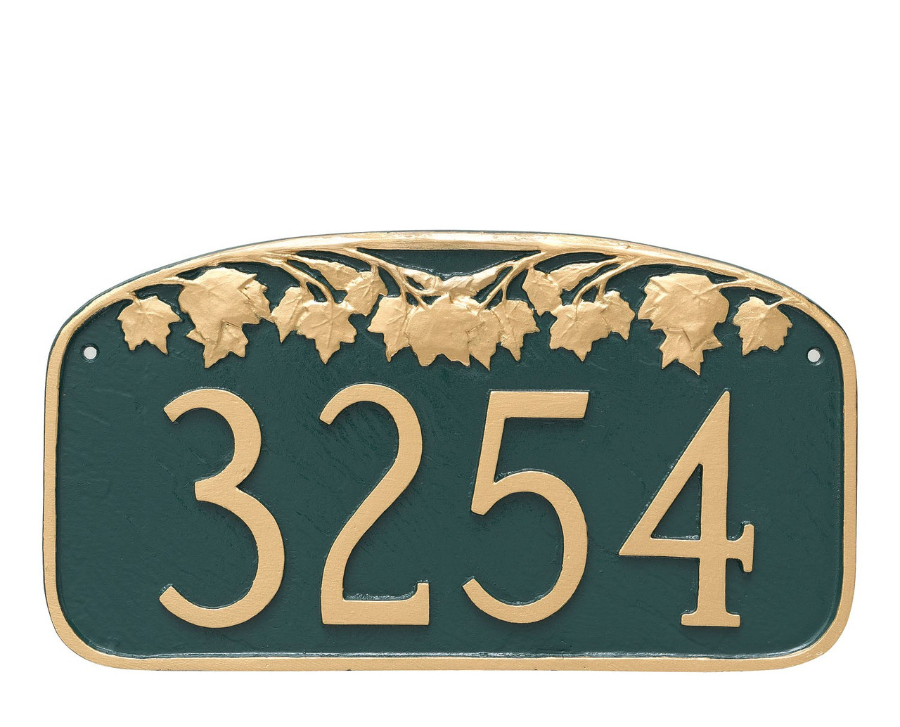 Metal Address Plaque with Maple Leaf design. Shown in Hunter Green/Gold color combination.