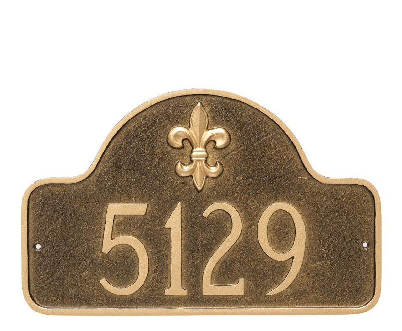 Fleur-de-lis Lexington Arch Address Sign - 1 line - Large Size in Aged Bronze/Gold