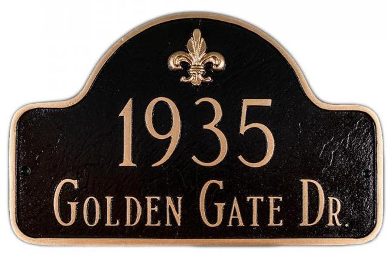 Fleur-de-lis Lexington Arch Address Plaque - shown in black/gold