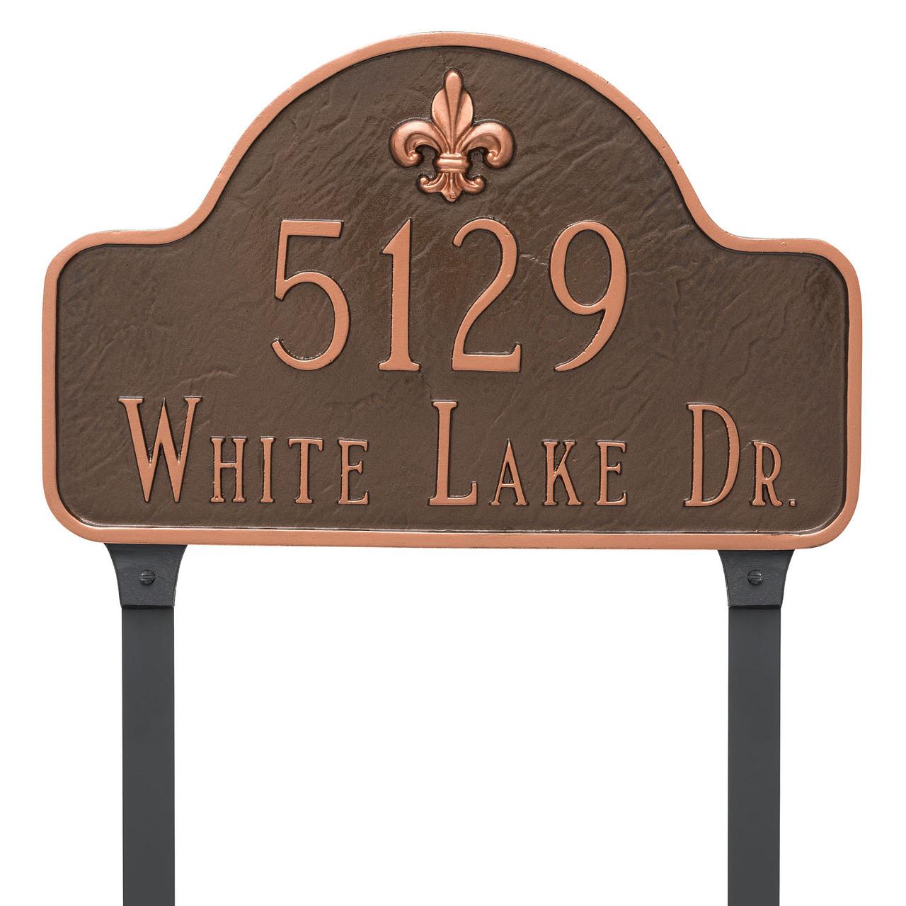 Available lawn stakes with the Fleur-de-lis Lexington Arch Address Plaque