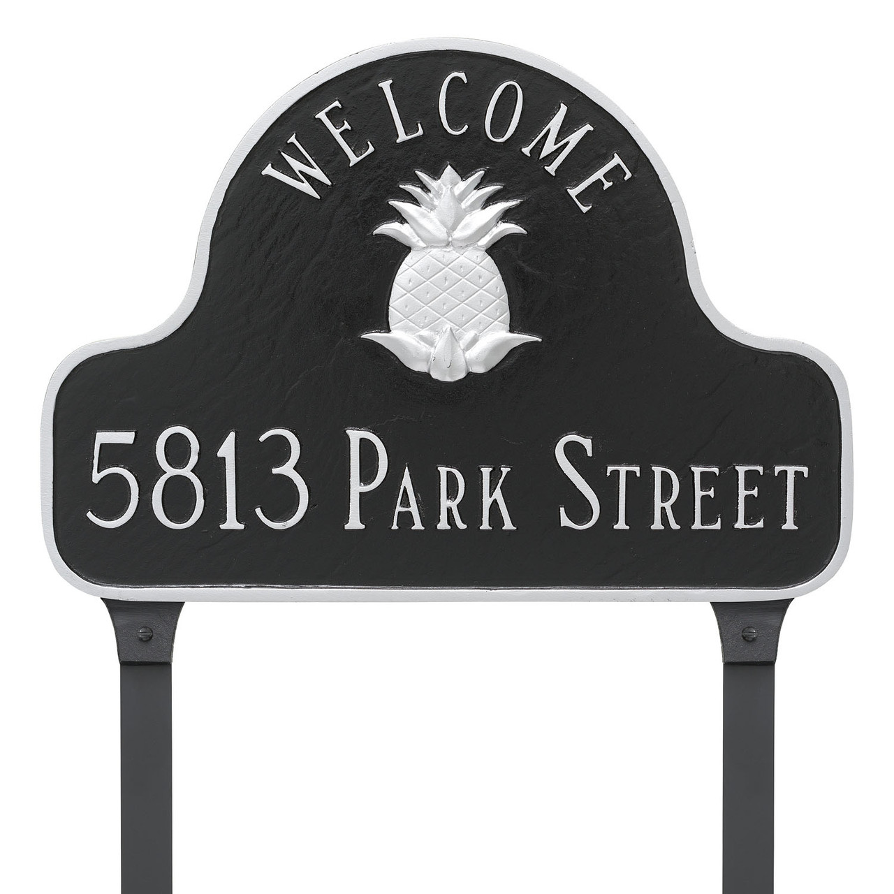 Pineapple Welcome Address Plaque in Black Silver with lawn stakes
