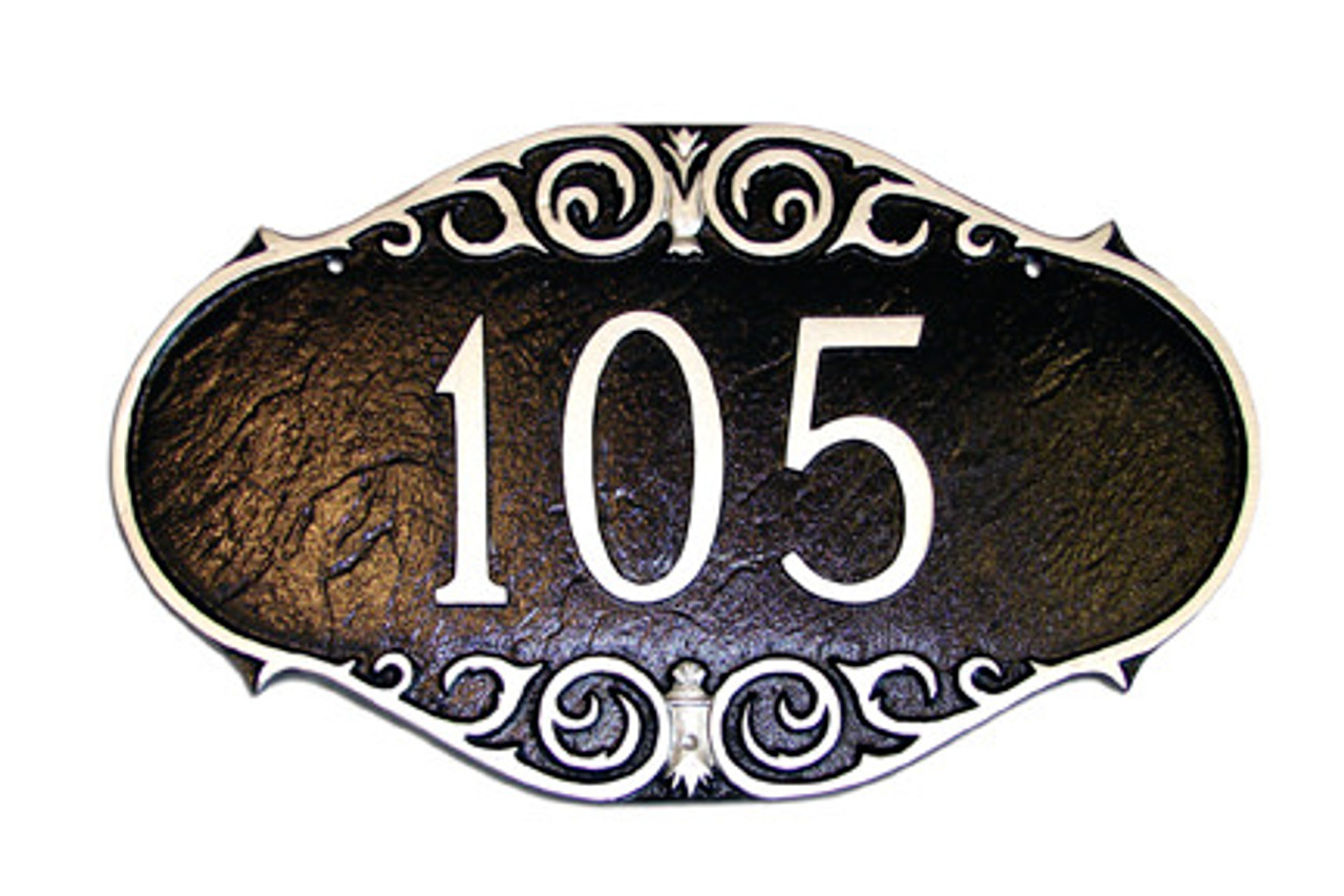 Victorian Style House Numbers Plaque. Shown here in chocolate brown with silver numbers and border.
