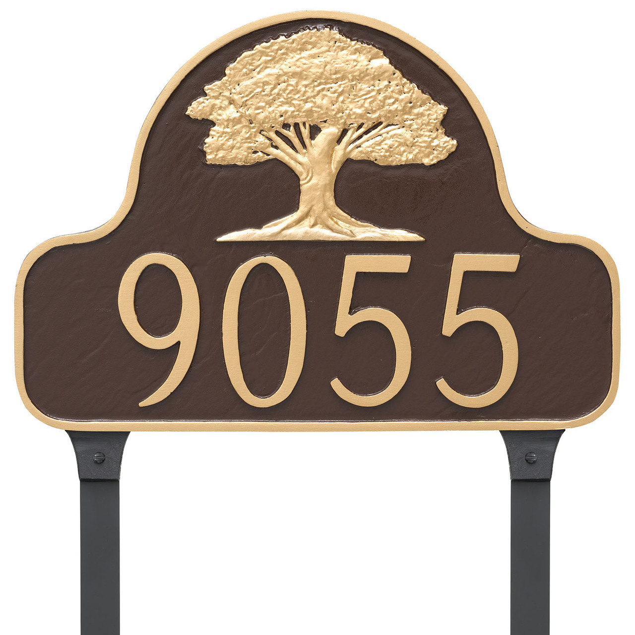 Oak Tree House Number Plaque shown with lawn stakes