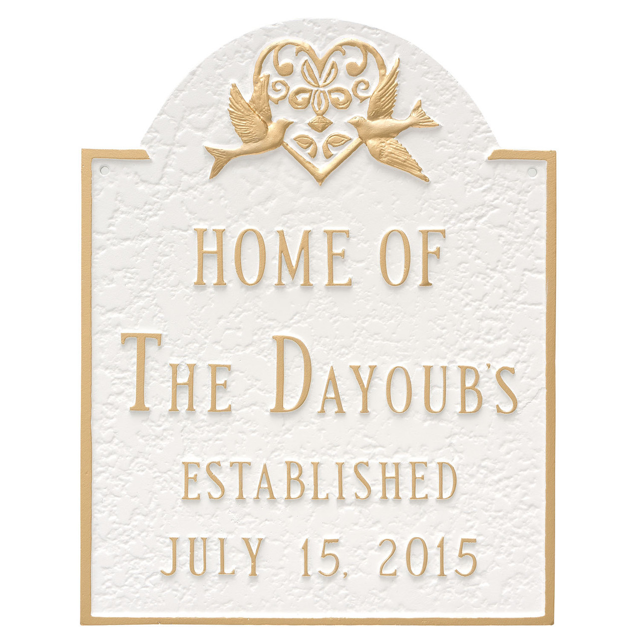 Personalized Wedding Plaque with Doves in White Gold