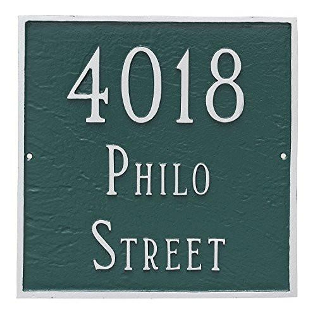 Large Address House Number Plaque. Shown here in Hunter Green/Silver displaying street address.