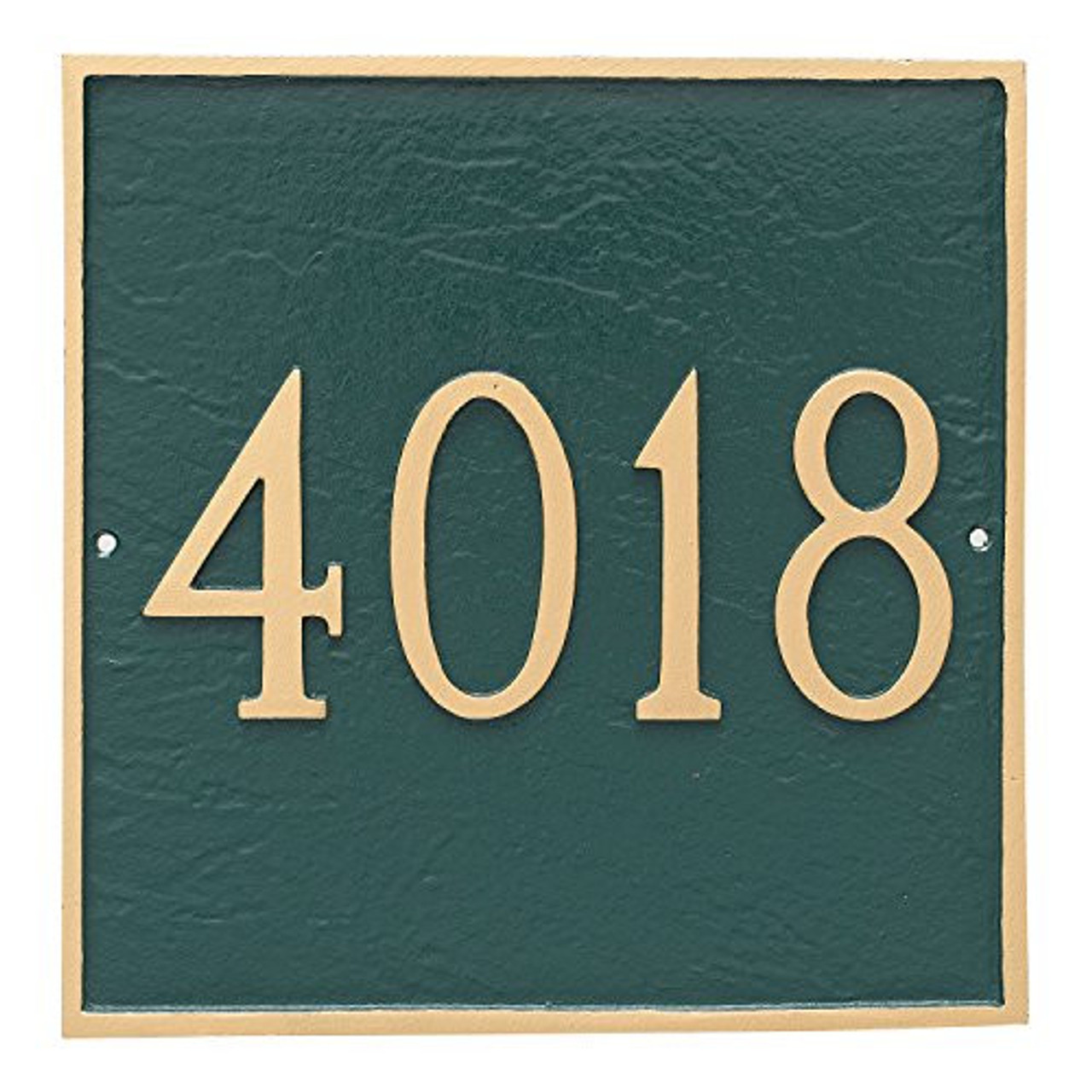 Large Address House Number Plaque. Shown displaying Large House Numbers only for maximum visibility from a distance- Color combination here is Hunter Green/Gold