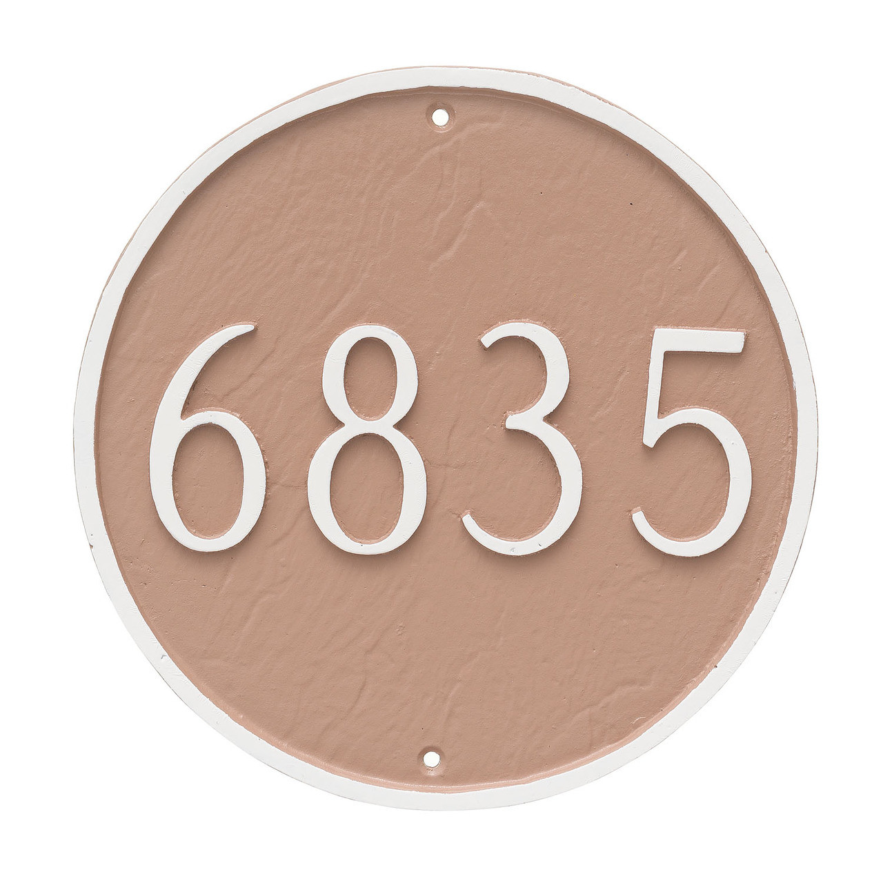 Round House Number Plaque (Large) shown in Taupe background and white border and numbers