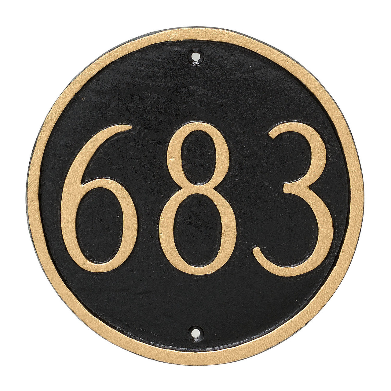 Round House Number Plaque (Large) shown with Black background and Gold numbers and border color