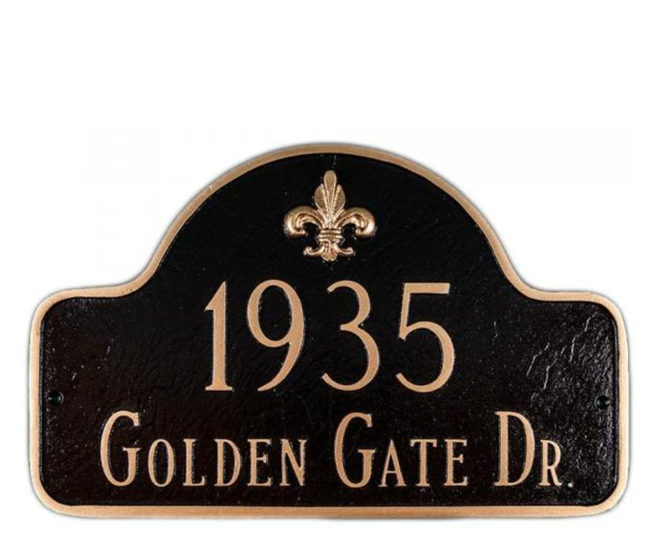 Fleur de lis Arch Address Plaque in black/gold color combination.