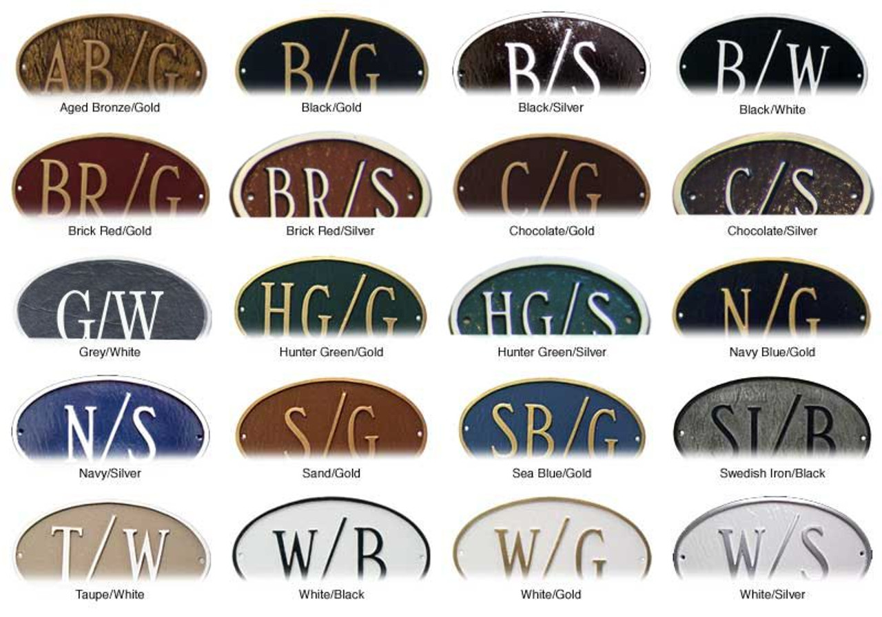 Beautiful color combinations available to complete your name plaque.