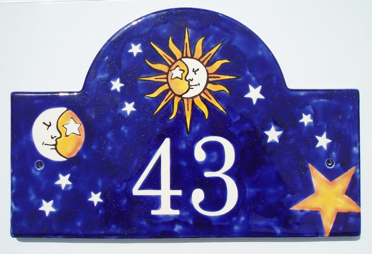 Celestial Sun and Moon Half Face House Plaque - Example 2