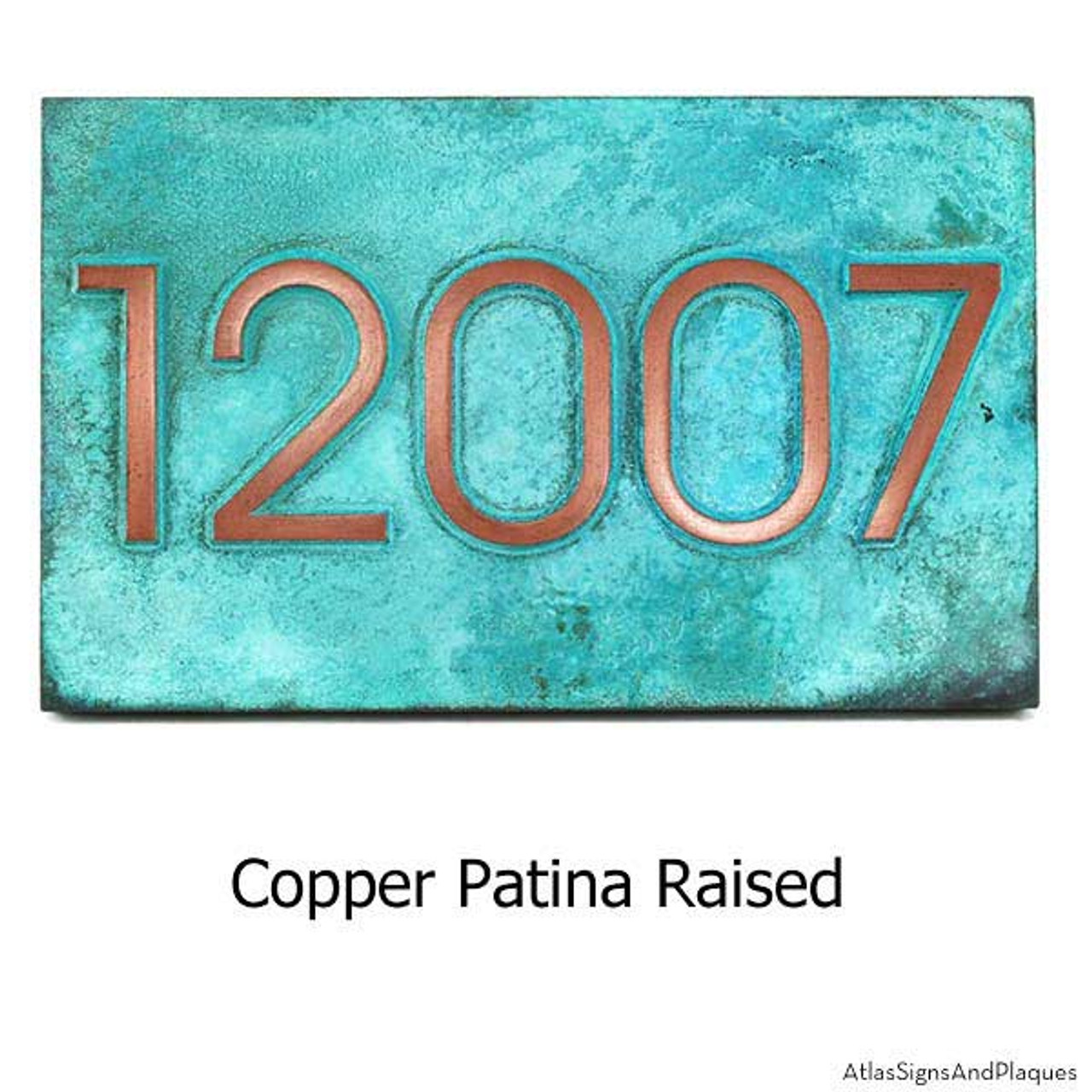 Modern Advantage House Number Plaque shown in 'Copper Verdi' finish.