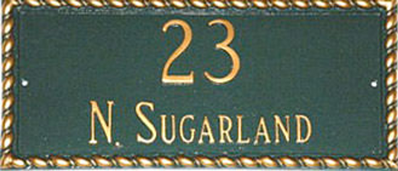 Address Plaque in Hunter Green and Gold
