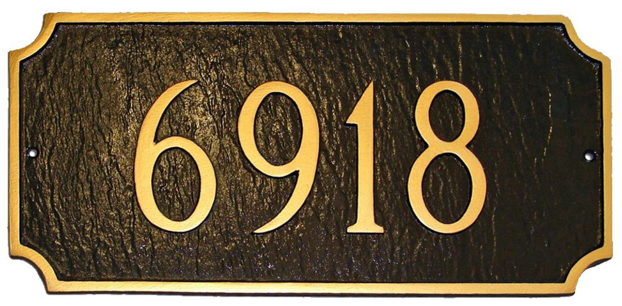 Princeton Address Plaque shown in Chocolate with Gold color combination. Raised numbers and border are used for a distinctive look.