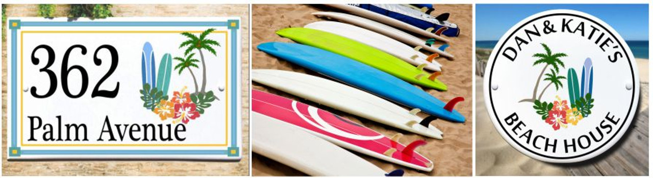 Cowabunga! Surf's Up with our Surfboard House Plaques