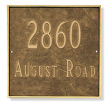 Classic Square Address Plaque Grande Size- Shown in hand rubbed Aged Bronze/Gold finish