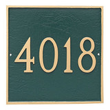 Classic Square Address Plaque Grande Size- Shown in Hunter Green Silver Gold with numbers only