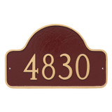 Displaying your House Numbers only allows numbers to be larger as shown here. This color combination is brick red with gold border and numbers.