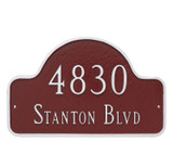 Home Address Sign shown for wall mounting. Plaque comes with screws for easy mounting.