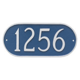 Oblong Address Plaque shown here in Sea Blue and Silver. • Numbers and border are raised solid aluminum... giving your house plaque texture and adding an artistic look and feel to your outdoor space.