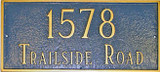 Estate Size Address Plaque shown in sea blue/gold colors.