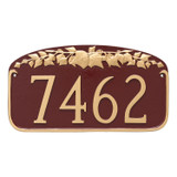 Address Number Plaque – Ivy Leaf Design shown in Brick Red Gold. All color choices are powder coated for exceptional durable colors that resist fading, chipping and scratches.