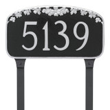 Metal House Number Plaque with lawn stakes shown here in black background and silver house numbers, border and flowers.