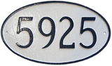 Oval Address Plaque shown here in classic black on white color combination.