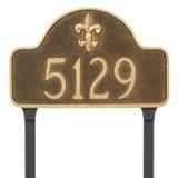 Fleur-de-lis Address Sign with lawn stakes.