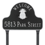 Welcome Address Plaque in a Black/Silver color combination with lawn stakes. Lawn stakes are optional and can be added to your order using the 'Add Lawn Stakes' drop down box above.